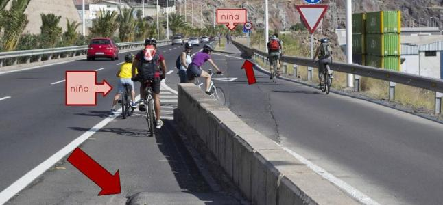 Cruce mortal del carril bici a San Andrés.Tenerife ¡En qué pensaría quien lo diseñó!