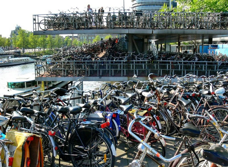Bike rack in Amsterdam: the capital of cycling