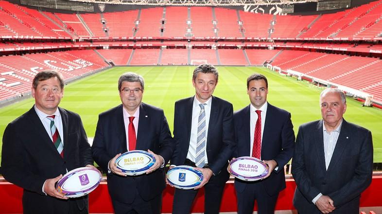 Los balones de las finales europeas de Rugby ya están en San Mames