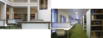 Sala de documentación. Sala con mesas y estanterías.