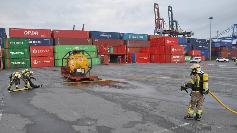 Simulacro bomberos en el Puerto