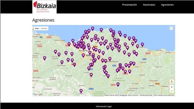 El mapa de la violencia machista recoge de forma gráfica las agresiones y asesinatos de mujeres en Bizkaia
